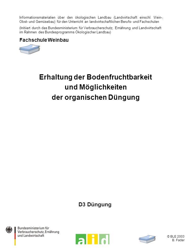 © BLE 2003 B. Fader D3 Düngung Erhaltung der Bodenfruchtbarkeit und Möglichkeiten der organischen Düngung Informationsmaterialien über den ökologische