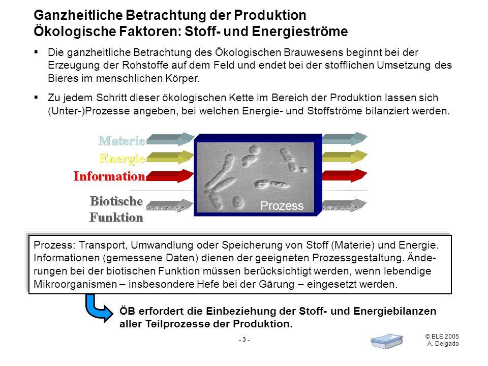 © BLE 2005 A. Delgado - 3 - Ganzheitliche Betrachtung der Produktion Ökologische Faktoren: Stoff- und Energieströme Die ganzheitliche Betrachtung des