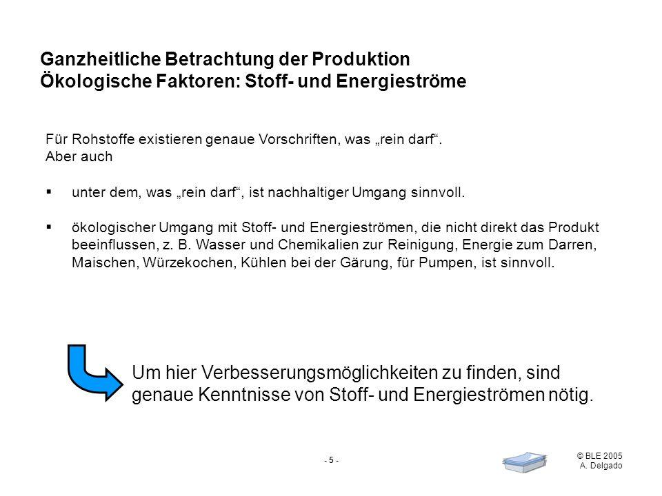 © BLE 2005 A. Delgado - 5 - Ganzheitliche Betrachtung der Produktion Ökologische Faktoren: Stoff- und Energieströme Für Rohstoffe existieren genaue Vo