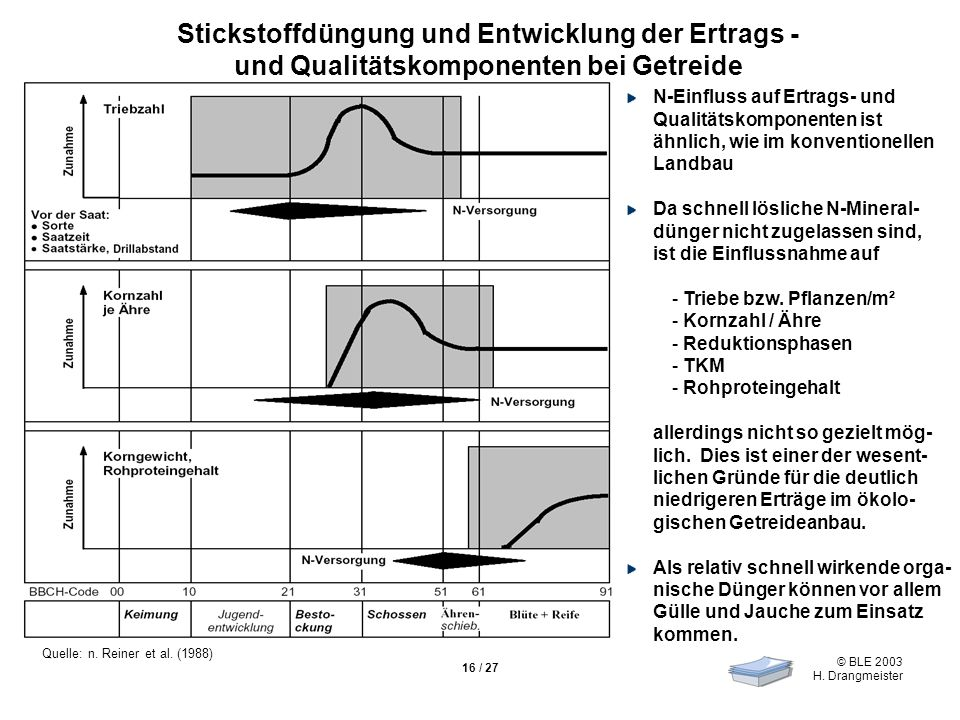 © BLE 2003 H.Drangmeister 16 / 27 Quelle: n. Reiner et al.
