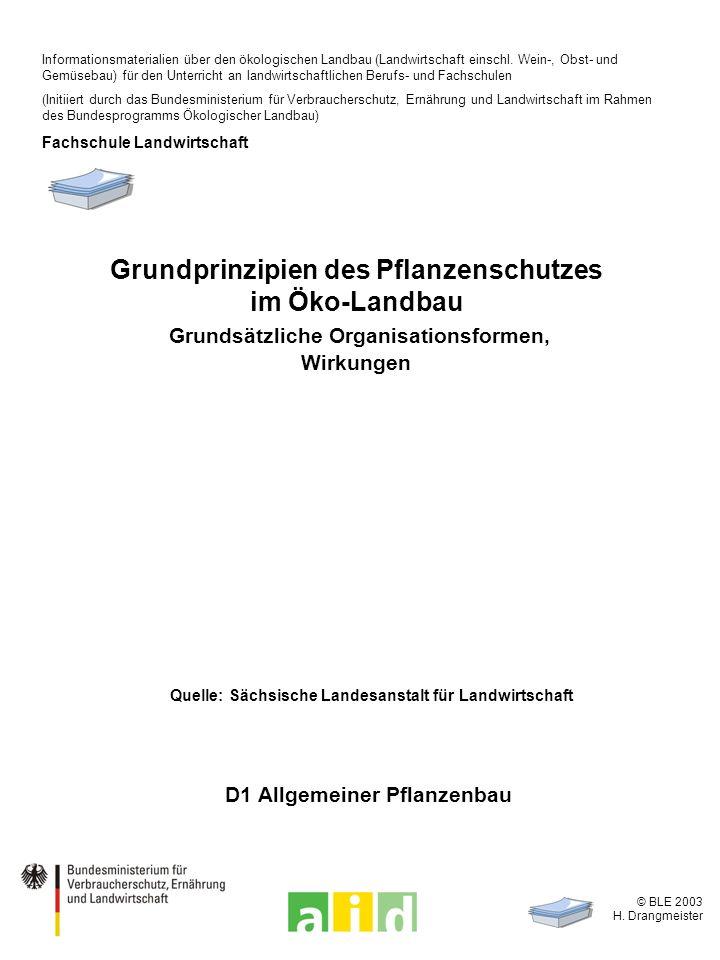 © BLE 2003 H. Drangmeister Grundprinzipien des Pflanzenschutzes im Öko-Landbau Grundsätzliche Organisationsformen, Wirkungen D1 Allgemeiner Pflanzenba