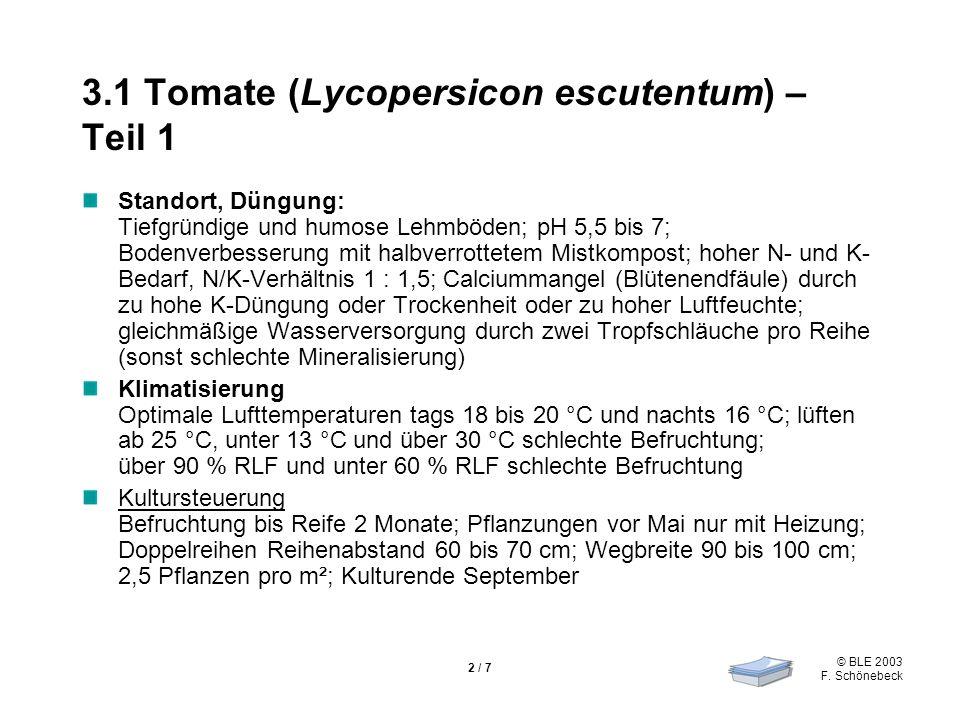© BLE 2003 F. Schönebeck 2 / 7 3.1 Tomate (Lycopersicon escutentum) – Teil 1 Standort, Düngung: Tiefgründige und humose Lehmböden; pH 5,5 bis 7; Boden