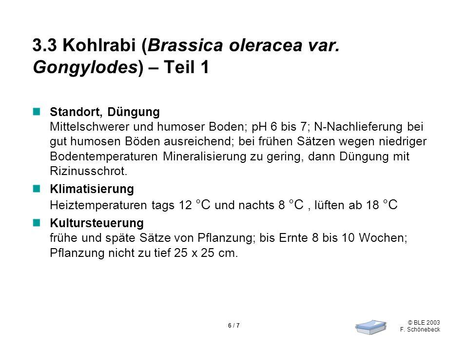 © BLE 2003 F. Schönebeck 6 / 7 3.3 Kohlrabi (Brassica oleracea var. Gongylodes) – Teil 1 Standort, Düngung Mittelschwerer und humoser Boden; pH 6 bis