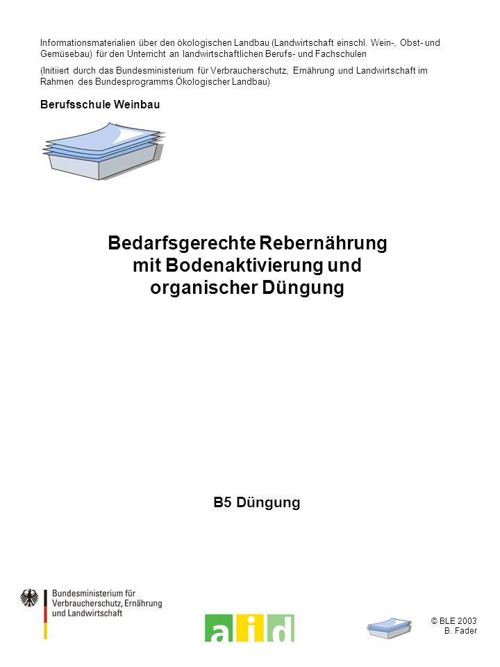 © BLE 2003 B. Fader B5 Düngung Bedarfsgerechte Rebernährung mit Bodenaktivierung und organischer Düngung Informationsmaterialien über den ökologischen