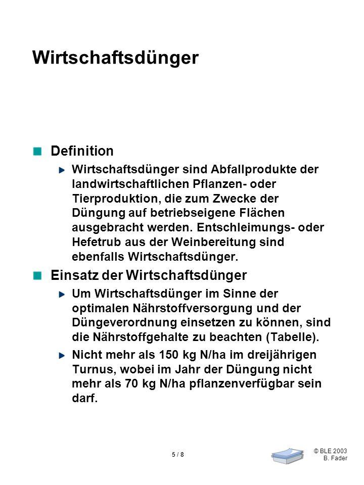© BLE 2003 B. Fader 5 / 8 Wirtschaftsdünger Definition Wirtschaftsdünger sind Abfallprodukte der landwirtschaftlichen Pflanzen- oder Tierproduktion, d
