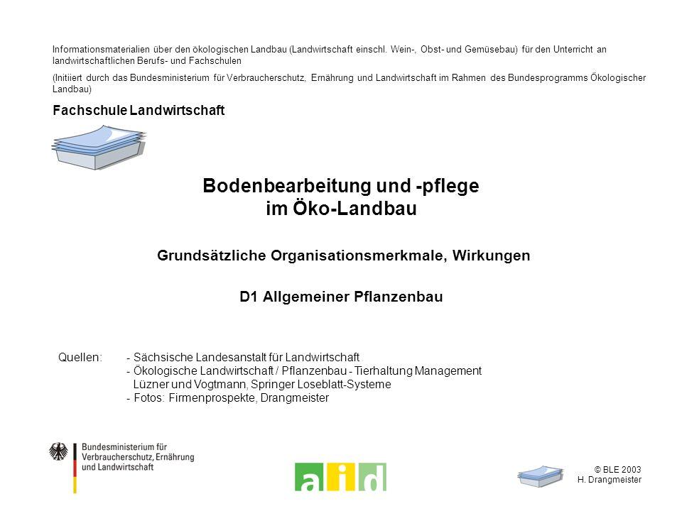 © BLE 2003 H. Drangmeister Bodenbearbeitung und -pflege im Öko-Landbau Grundsätzliche Organisationsmerkmale, Wirkungen D1 Allgemeiner Pflanzenbau Quel