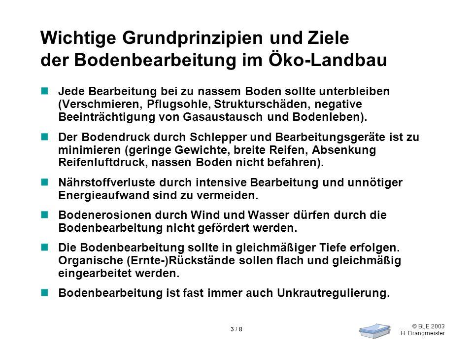 © BLE 2003 H. Drangmeister 3 / 8 Wichtige Grundprinzipien und Ziele der Bodenbearbeitung im Öko-Landbau Jede Bearbeitung bei zu nassem Boden sollte un