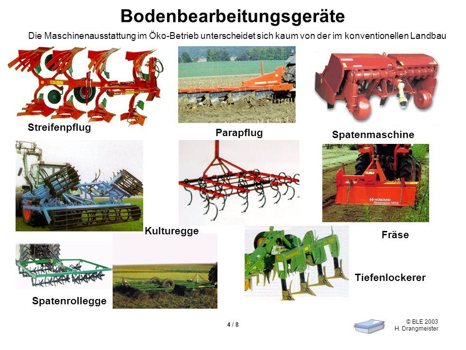 © BLE 2003 H. Drangmeister 4 / 8 Bodenbearbeitungsgeräte Streifenpflug Parapflug Spatenmaschine Spatenrollegge Tiefenlockerer Fräse Kulturegge Die Mas