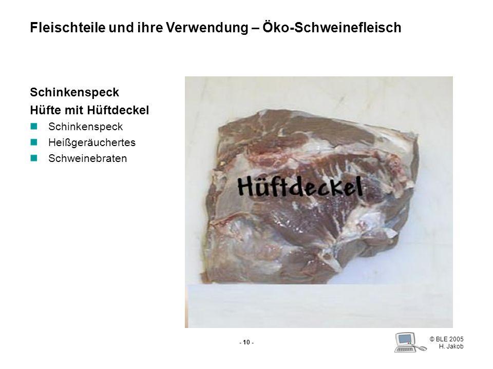 © BLE 2005 H. Jakob - 9 - Nuss ohne Nussdeckel Schnitzel Schweinsrouladen Cordon bleu Fleischteile und ihre Verwendung – Öko-Schweinefleisch