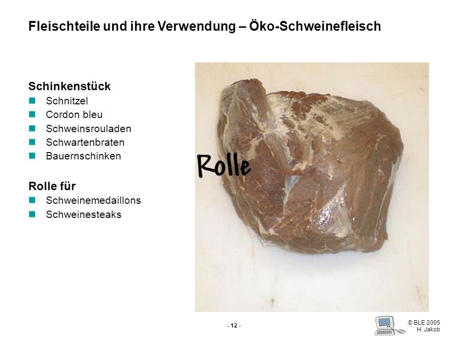 © BLE 2005 H. Jakob - 11 - Schinkenspeck Hüfte ohne Hüftdeckel Schweinesteaks Fondue Schinkenspeck Fleischteile und ihre Verwendung – Öko-Schweineflei