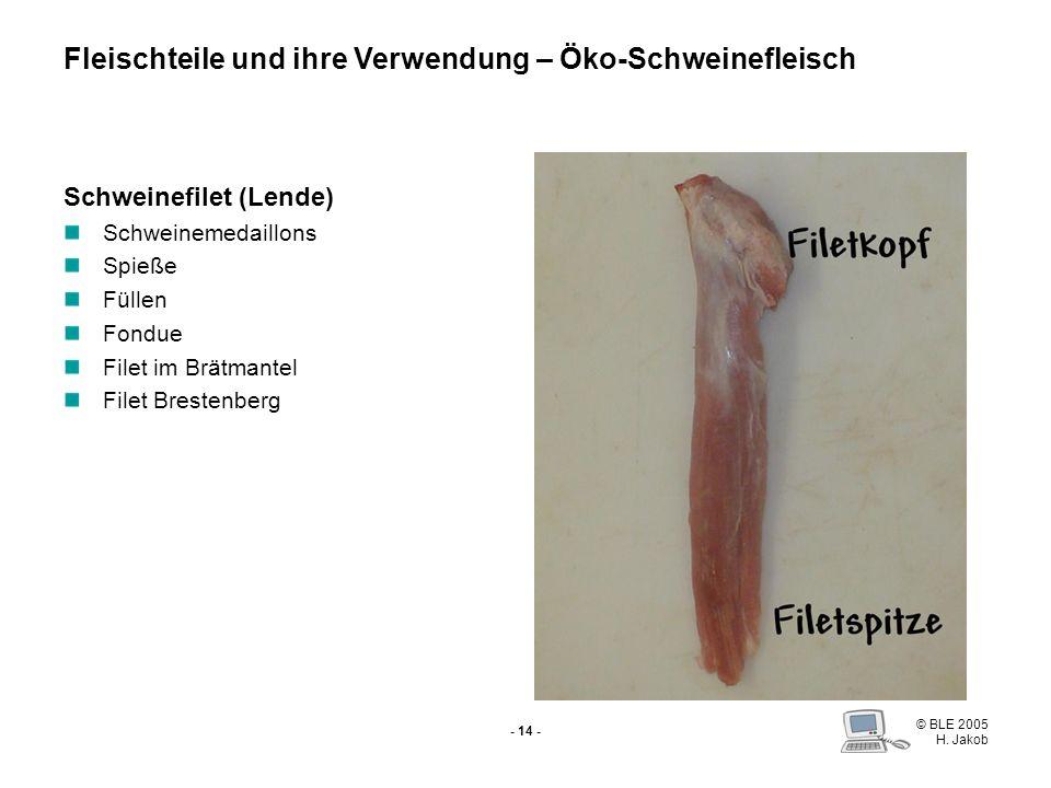 © BLE 2005 H. Jakob - 13 - Karree Schweinefilet Filetkotelett Stielkotelett Kamm Fleischteile und ihre Verwendung – Öko-Schweinefleisch