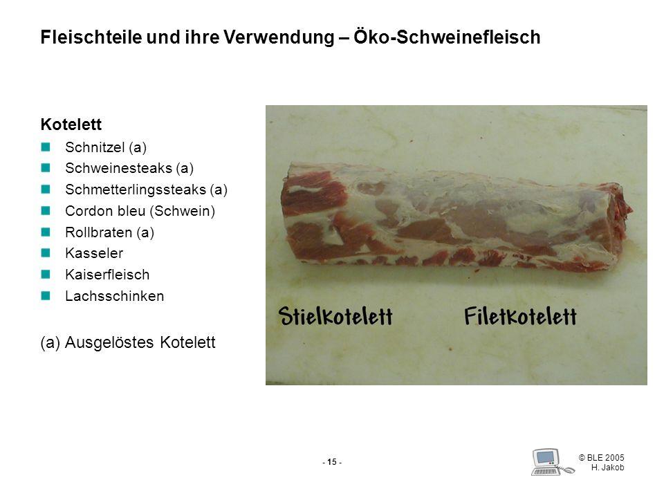 © BLE 2005 H. Jakob - 14 - Schweinefilet (Lende) Schweinemedaillons Spieße Füllen Fondue Filet im Brätmantel Filet Brestenberg Fleischteile und ihre V