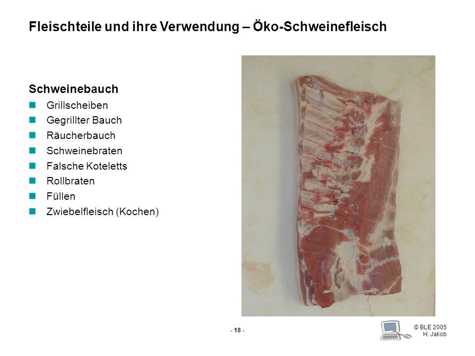 © BLE 2005 H. Jakob - 17 - Brust Spareribs Füllen Zwiebelfleisch Fleischteile und ihre Verwendung – Öko-Schweinefleisch