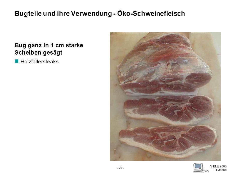 © BLE 2005 H. Jakob - 19 - Bug (Schulter) Spitzbein Vordereisbein Dickes Bugstück Schäufele Bugteile und ihre Verwendung - Öko-Schweinefleisch