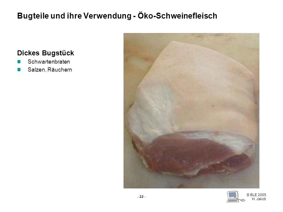 © BLE 2005 H. Jakob - 21 - Vordereisbein Salzen Kochen Grillhaxen Eisbeinsülze Spitzbein Gefüllter Schweinsfuß Sülze Bugteile und ihre Verwendung - Ök