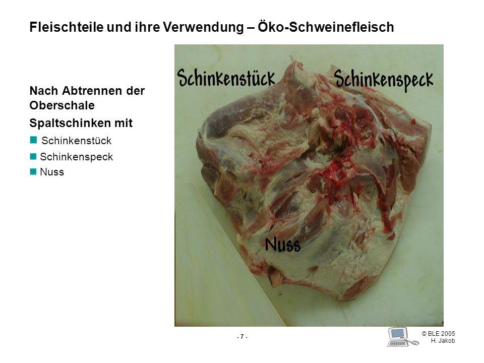 © BLE 2005 H. Jakob - 6 - Oberschale Schnitzel Cordon bleu Schweinsrouladen Fondue Fleischteile und ihre Verwendung – Öko-Schweinefleisch