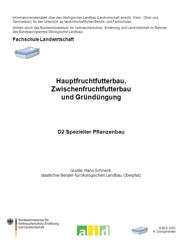 © BLE 2003 H. Drangmeister Hauptfruchtfutterbau, Zwischenfruchtfutterbau und Gründüngung D2 Spezieller Pflanzenbau Quelle: Hans Schneck, staatlicher B