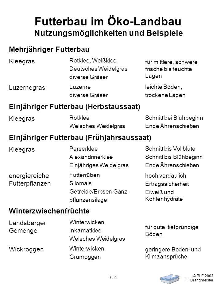 © BLE 2003 H. Drangmeister 3 / 9 Futterbau im Öko-Landbau Nutzungsmöglichkeiten und Beispiele Mehrjähriger Futterbau Kleegras Rotklee, Weißklee Deutsc