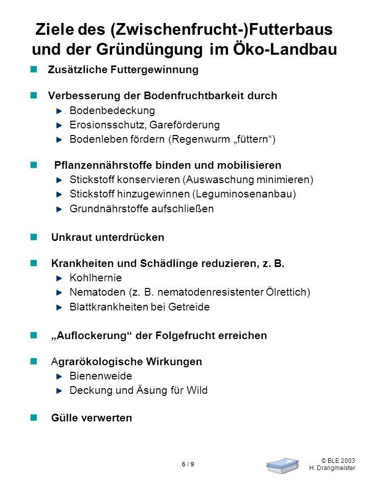 © BLE 2003 H. Drangmeister 6 / 9 Ziele des (Zwischenfrucht-)Futterbaus und der Gründüngung im Öko-Landbau Zusätzliche Futtergewinnung Verbesserung der