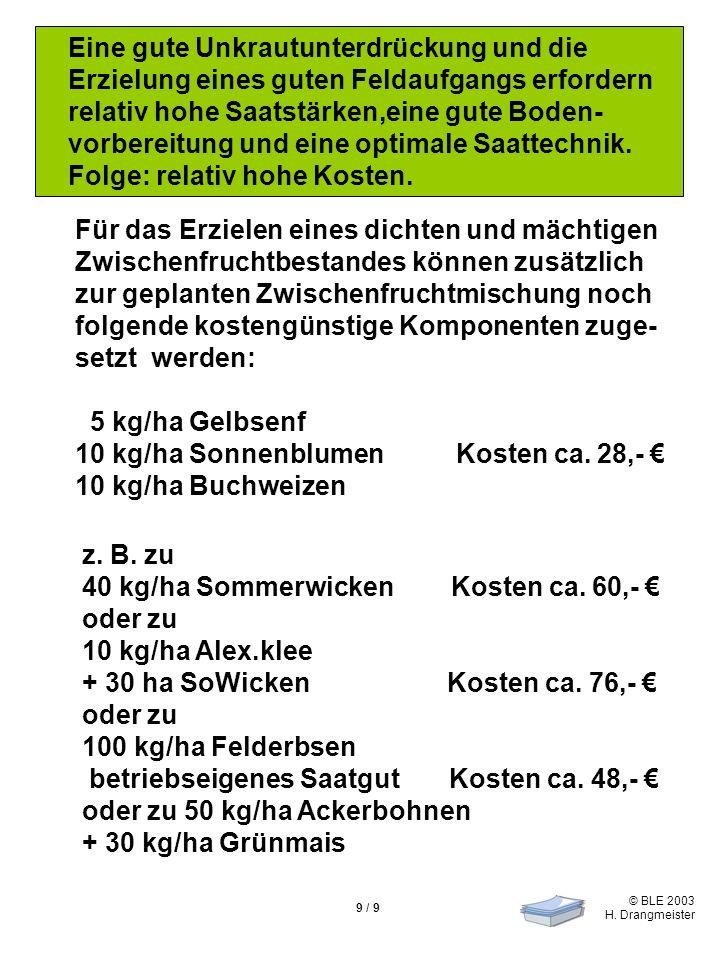 © BLE 2003 H. Drangmeister 9 / 9 Eine gute Unkrautunterdrückung und die Erzielung eines guten Feldaufgangs erfordern relativ hohe Saatstärken,eine gut