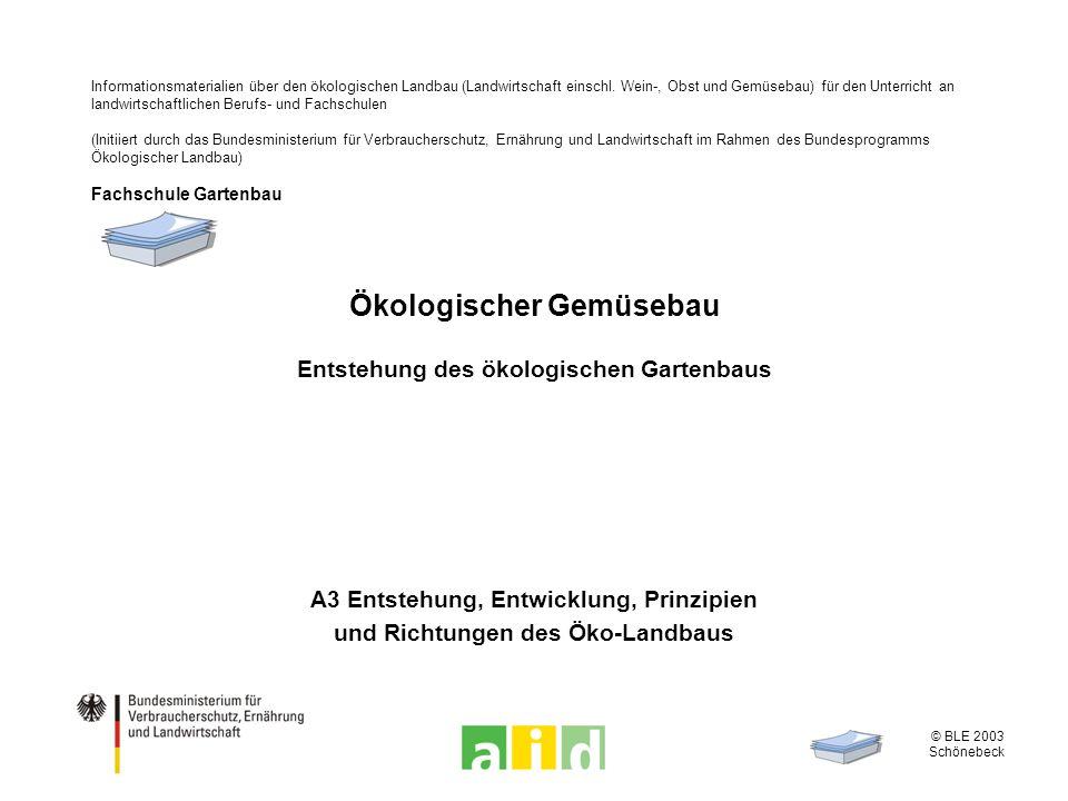 © BLE 2003 Schönebeck 2 / 7 Wirtschaftskreislauf des ökologischen Landbaus Betriebseigene Futtermittel Betriebseigene org.