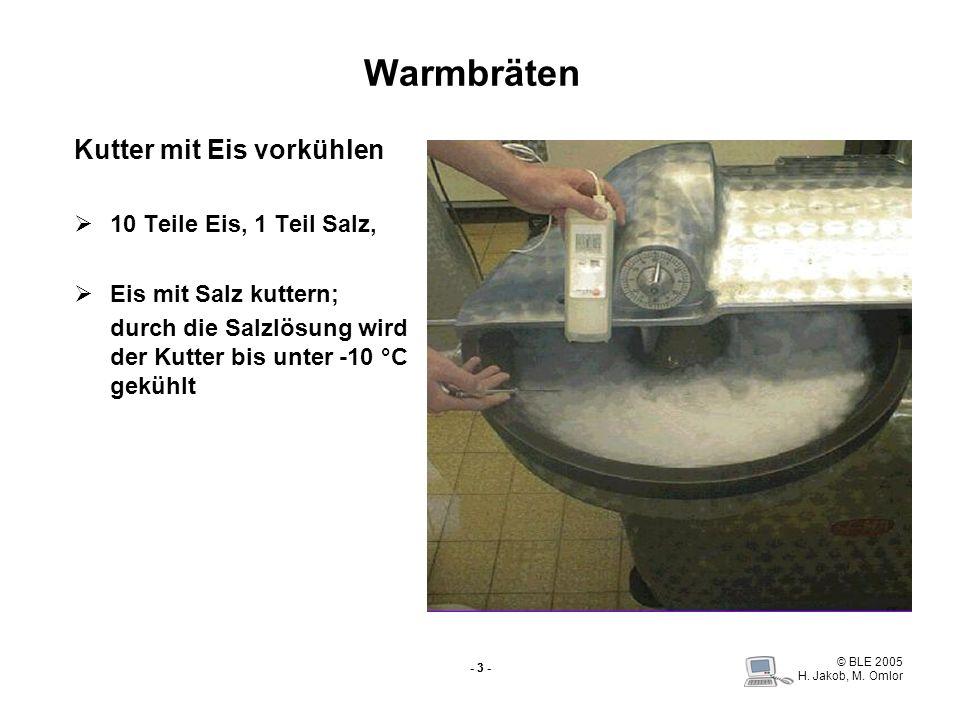 © BLE 2005 H. Jakob, M. Omlor - 3 - Warmbräten Kutter mit Eis vorkühlen 10 Teile Eis, 1 Teil Salz, Eis mit Salz kuttern; durch die Salzlösung wird der