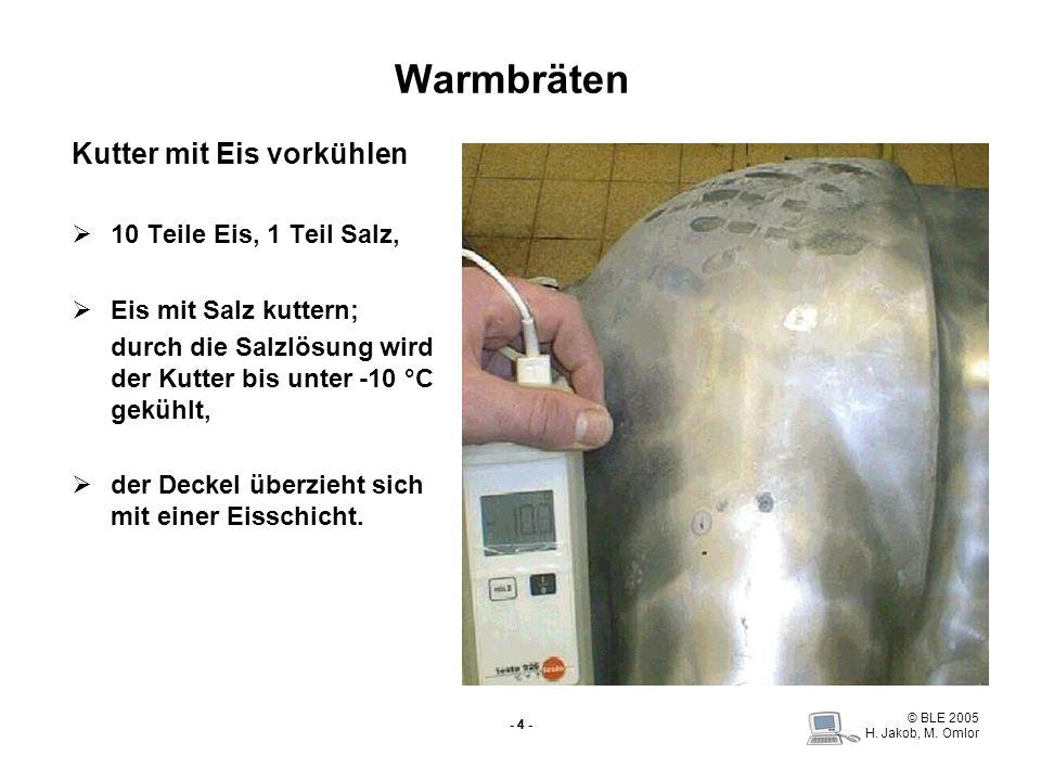 © BLE 2005 H. Jakob, M. Omlor - 4 - Warmbräten Kutter mit Eis vorkühlen 10 Teile Eis, 1 Teil Salz, Eis mit Salz kuttern; durch die Salzlösung wird der