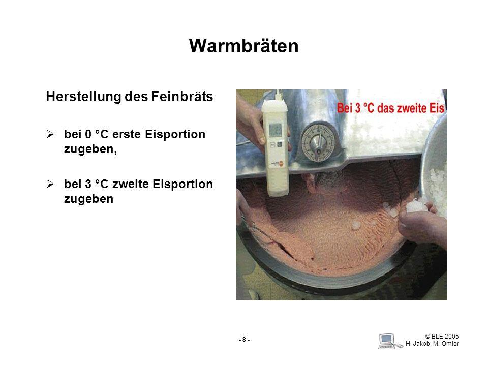 © BLE 2005 H. Jakob, M. Omlor - 8 - Warmbräten Herstellung des Feinbräts bei 0 °C erste Eisportion zugeben, bei 3 °C zweite Eisportion zugeben