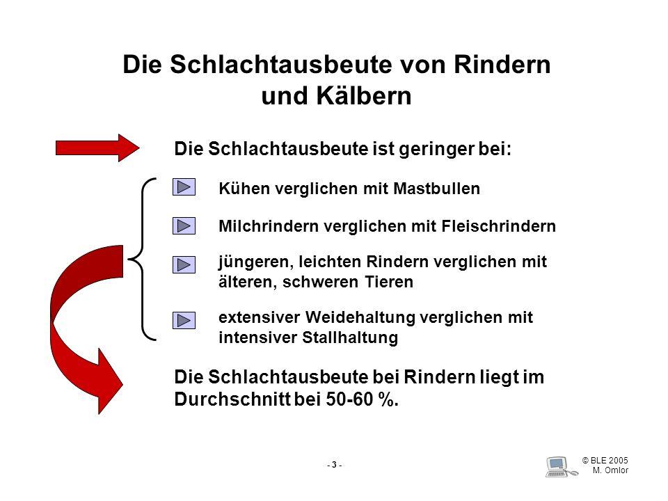 © BLE 2005 M.Omlor - 4 - Die Schlachtausbeute von Jungbullen nach Fleischteilen Quelle: Scheper u.