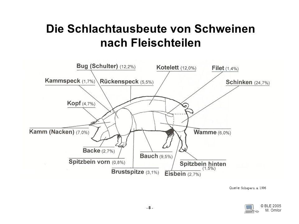 © BLE 2005 M. Omlor - 8 - Die Schlachtausbeute von Schweinen nach Fleischteilen Quelle: Scheper u. a. 1996