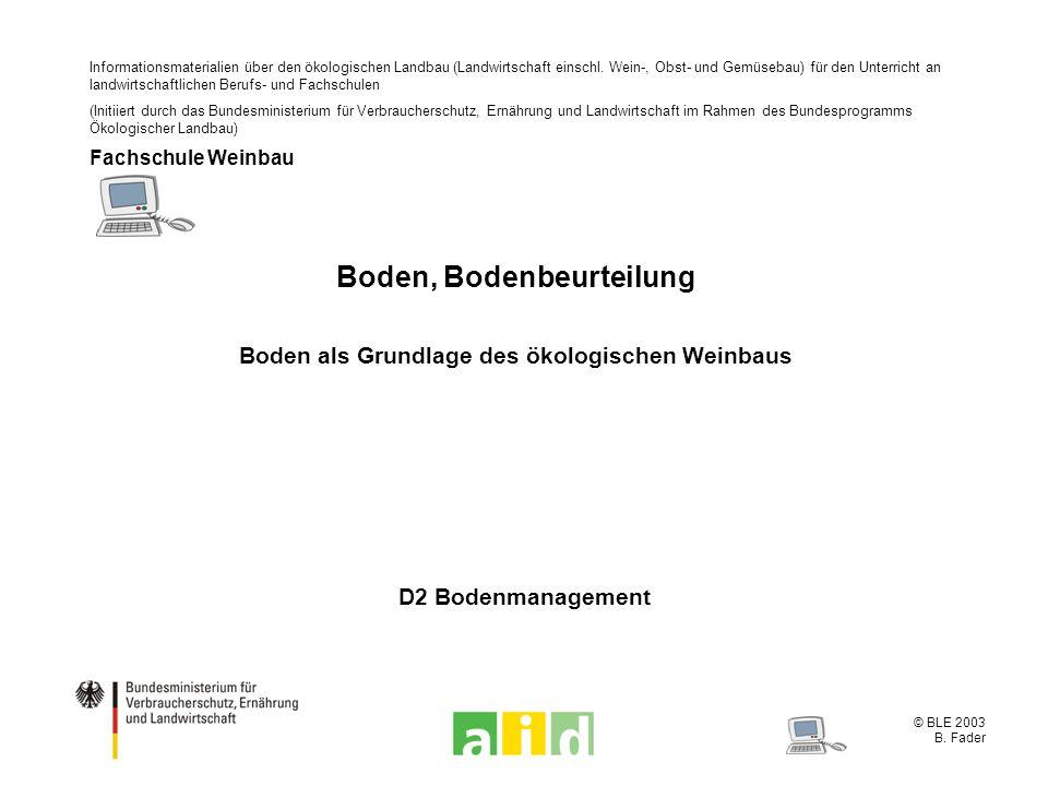 © BLE 2003 B. Fader D2 Bodenmanagement Boden, Bodenbeurteilung Boden als Grundlage des ökologischen Weinbaus Informationsmaterialien über den ökologis