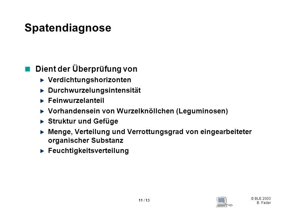 © BLE 2003 B. Fader 11 / 13 Spatendiagnose Dient der Überprüfung von Verdichtungshorizonten Durchwurzelungsintensität Feinwurzelanteil Vorhandensein v