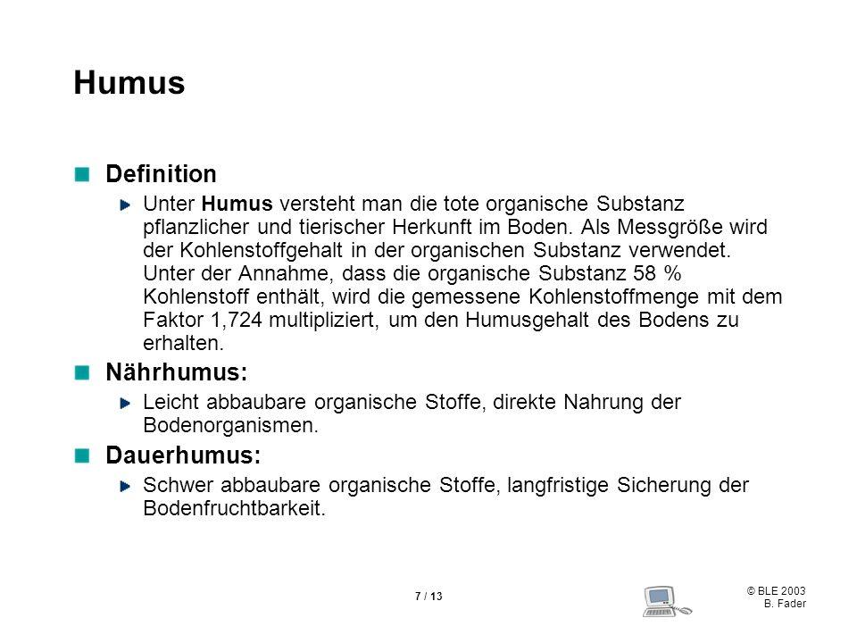 © BLE 2003 B. Fader 7 / 13 Humus Definition Unter Humus versteht man die tote organische Substanz pflanzlicher und tierischer Herkunft im Boden. Als M