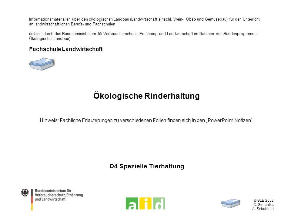 © BLE 2003 C. Simantke A. Schubbert Ökologische Rinderhaltung Hinweis: Fachliche Erläuterungen zu verschiedenen Folien finden sich in den PowerPoint-N