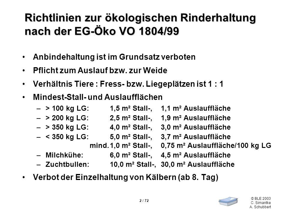 2 / 72 © BLE 2003 C. Simantke A. Schubbert Richtlinien zur ökologischen Rinderhaltung nach der EG-Öko VO 1804/99 Anbindehaltung ist im Grundsatz verbo