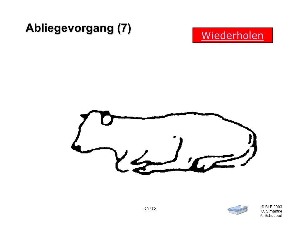 20 / 72 © BLE 2003 C. Simantke A. Schubbert Wiederholen Abliegevorgang (7)