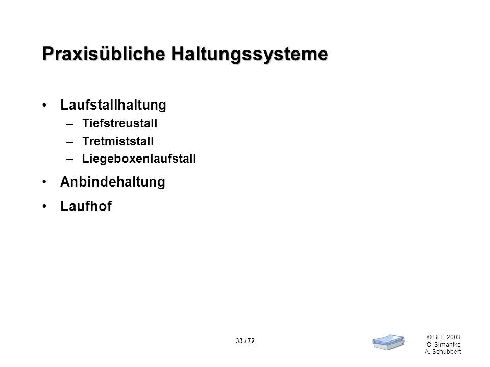33 / 72 © BLE 2003 C. Simantke A. Schubbert Praxisübliche Haltungssysteme Laufstallhaltung –Tiefstreustall –Tretmiststall –Liegeboxenlaufstall Anbinde
