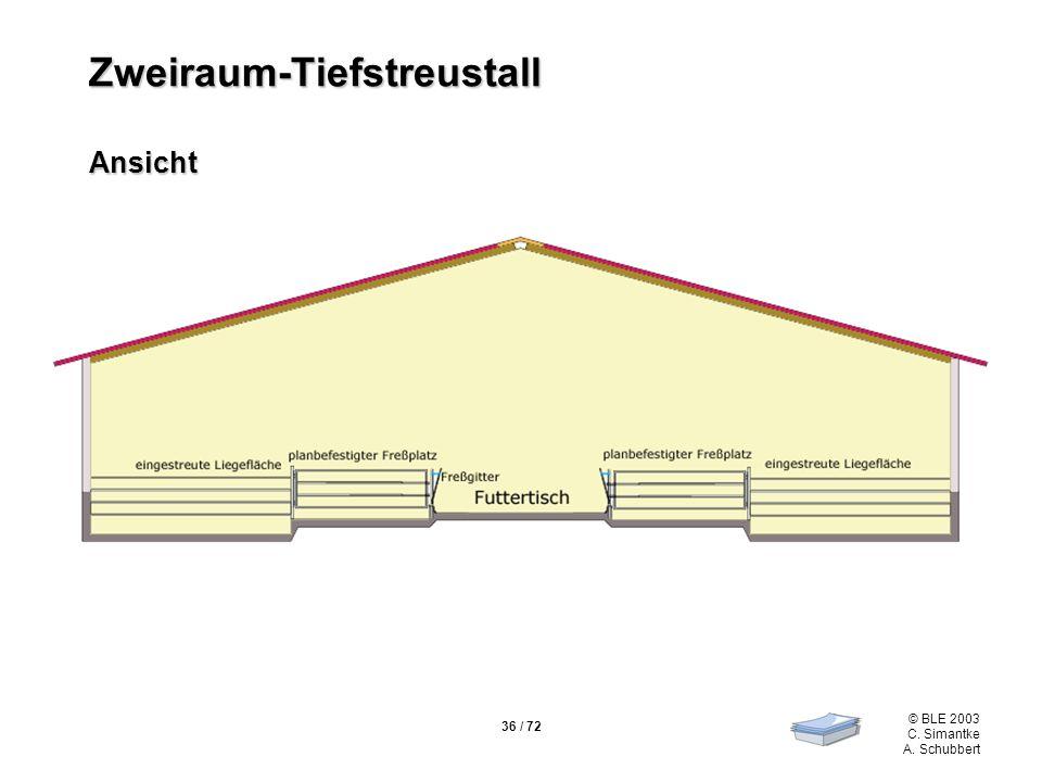 36 / 72 © BLE 2003 C. Simantke A. Schubbert Zweiraum-Tiefstreustall Ansicht