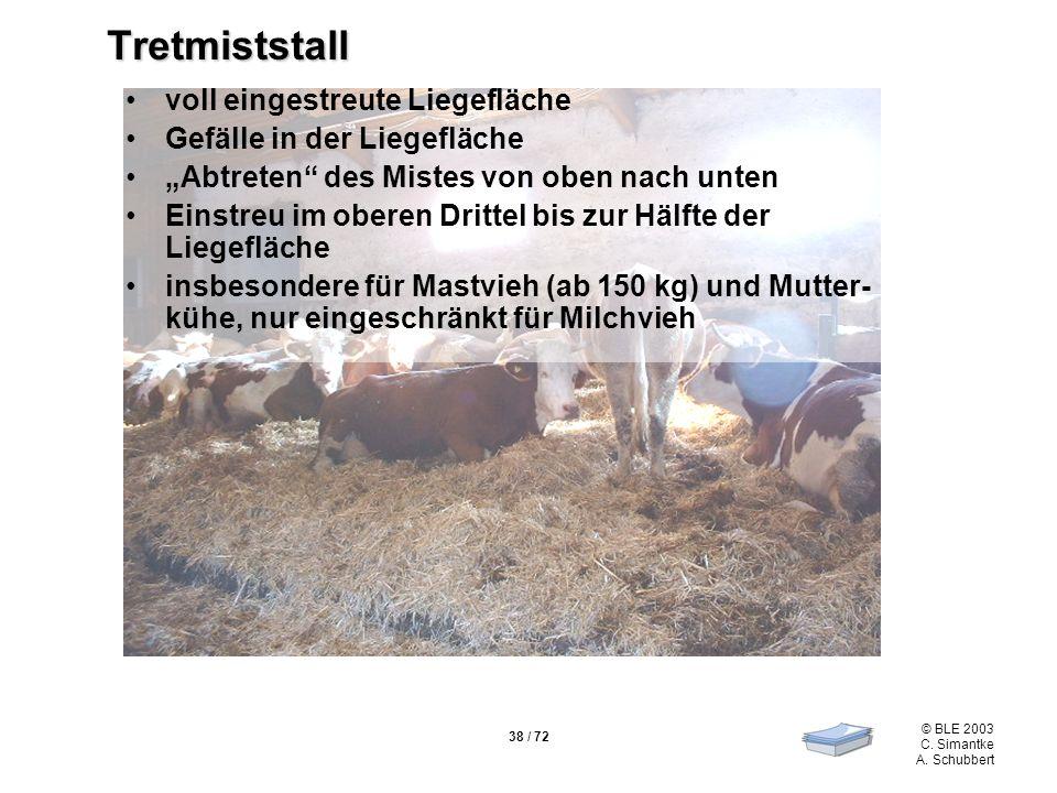 38 / 72 © BLE 2003 C. Simantke A. Schubbert Tretmiststall voll eingestreute Liegefläche Gefälle in der Liegefläche Abtreten des Mistes von oben nach u