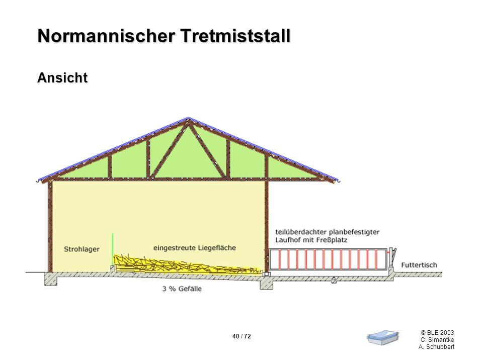 40 / 72 © BLE 2003 C. Simantke A. Schubbert Normannischer Tretmiststall Ansicht