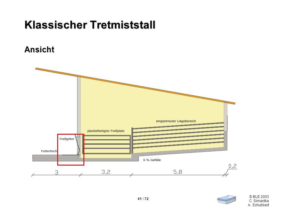 41 / 72 © BLE 2003 C. Simantke A. Schubbert Klassischer Tretmiststall Ansicht
