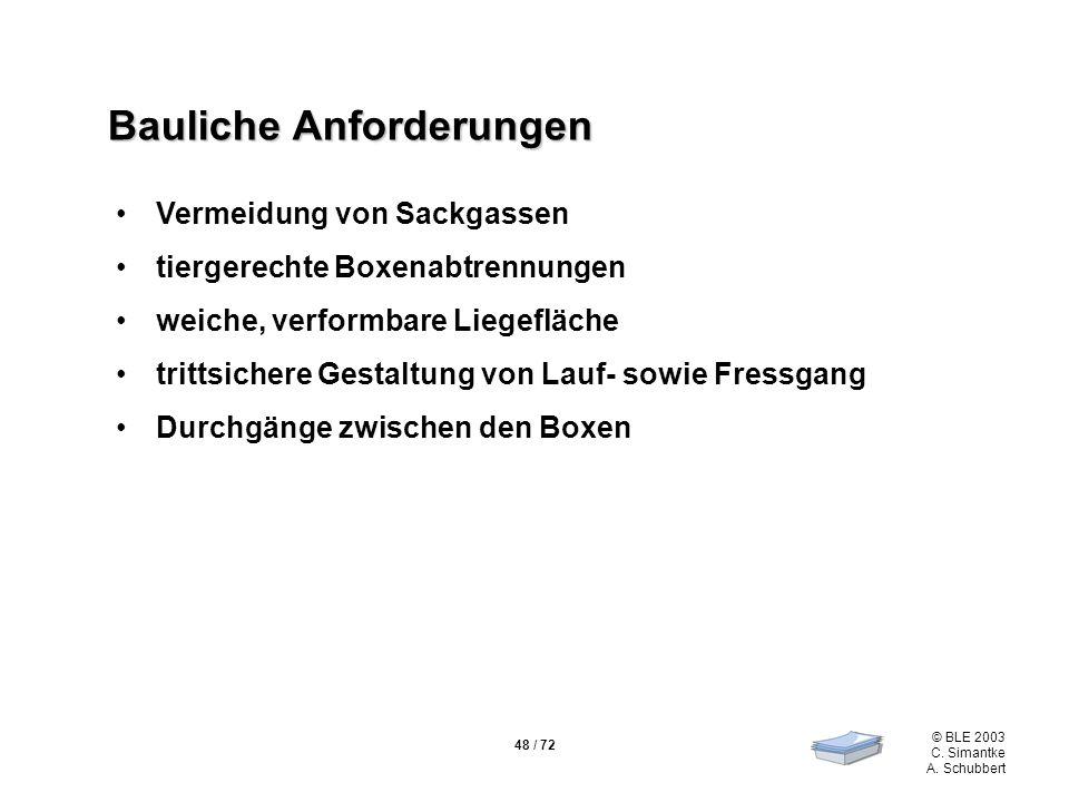 48 / 72 © BLE 2003 C. Simantke A. Schubbert Bauliche Anforderungen Vermeidung von Sackgassen tiergerechte Boxenabtrennungen weiche, verformbare Liegef