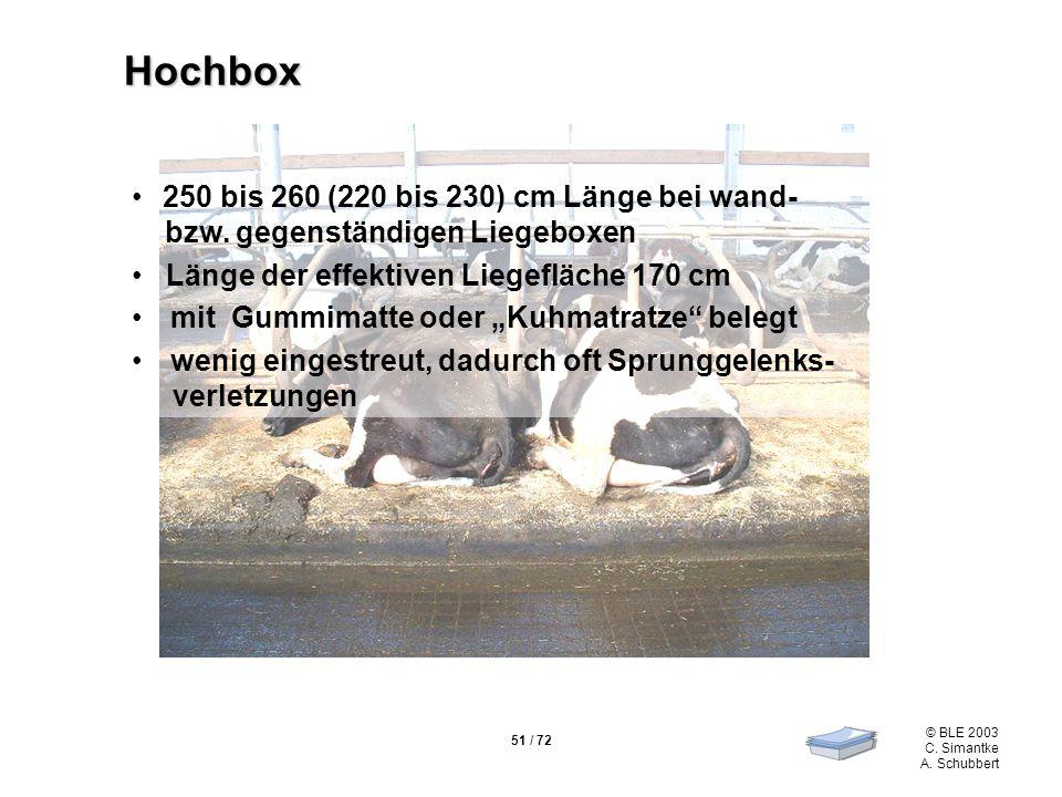 51 / 72 © BLE 2003 C. Simantke A. Schubbert Hochbox 250 bis 260 (220 bis 230) cm Länge bei wand- bzw. gegenständigen Liegeboxen Länge der effektiven L
