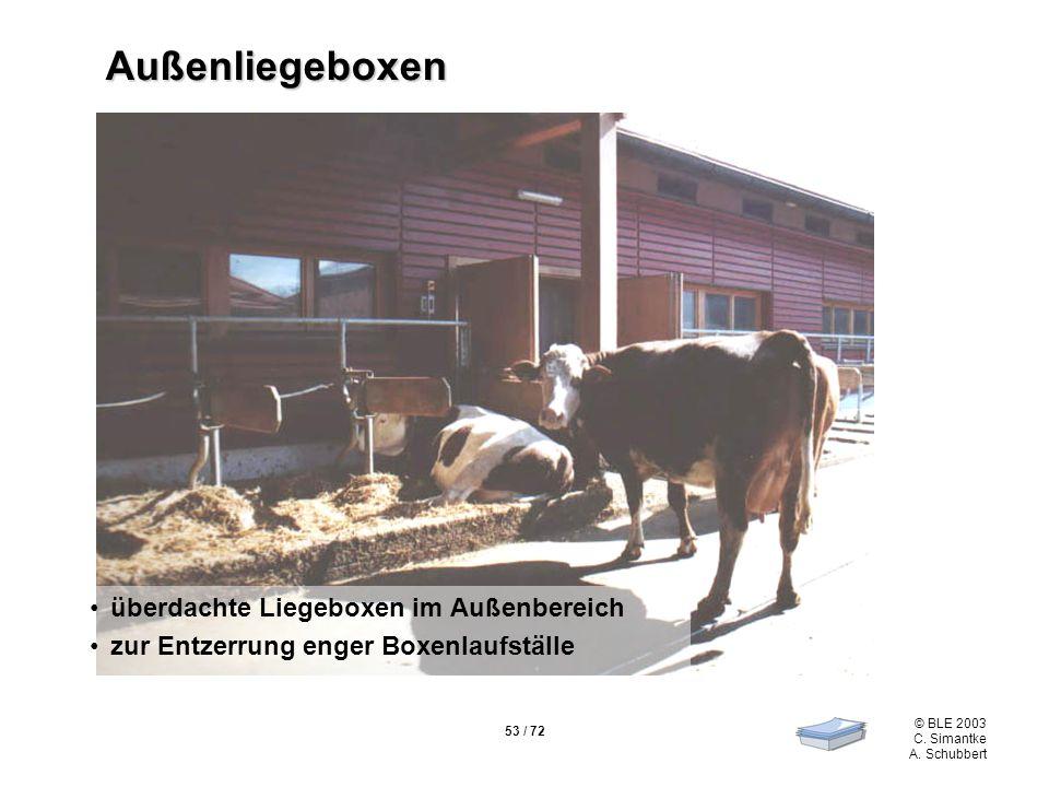 53 / 72 © BLE 2003 C. Simantke A. Schubbert Außenliegeboxen überdachte Liegeboxen im Außenbereich zur Entzerrung enger Boxenlaufställe