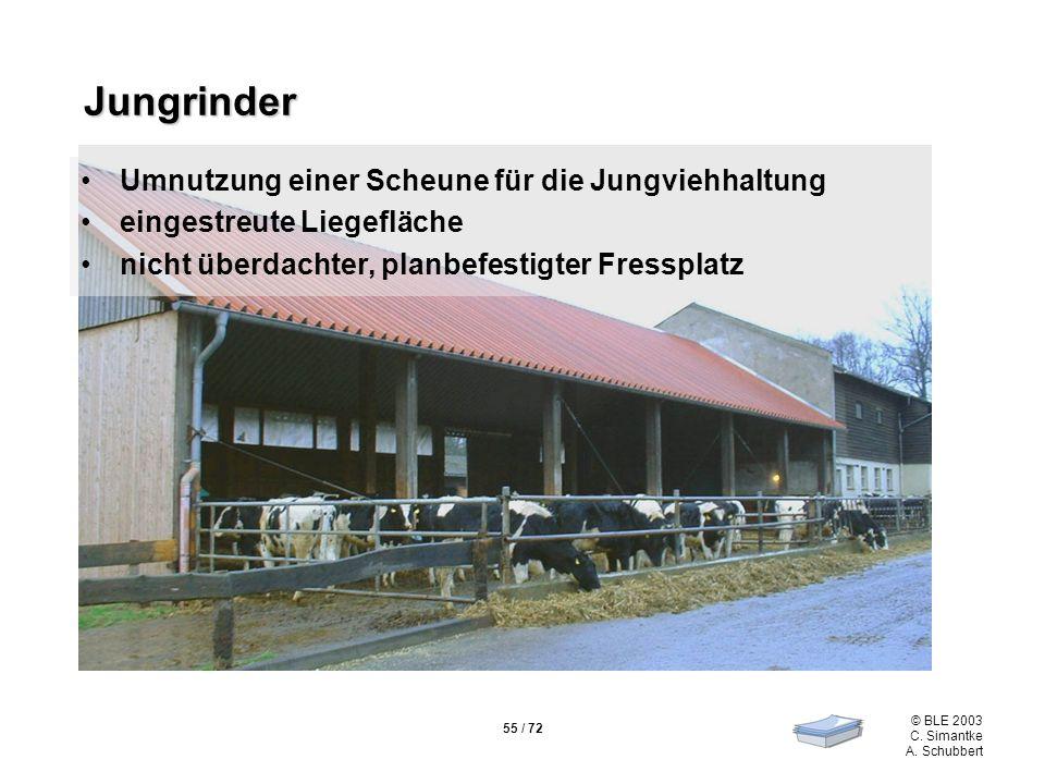 55 / 72 © BLE 2003 C. Simantke A. Schubbert Jungrinder Jungrinder Umnutzung einer Scheune für die Jungviehhaltung eingestreute Liegefläche nicht überd