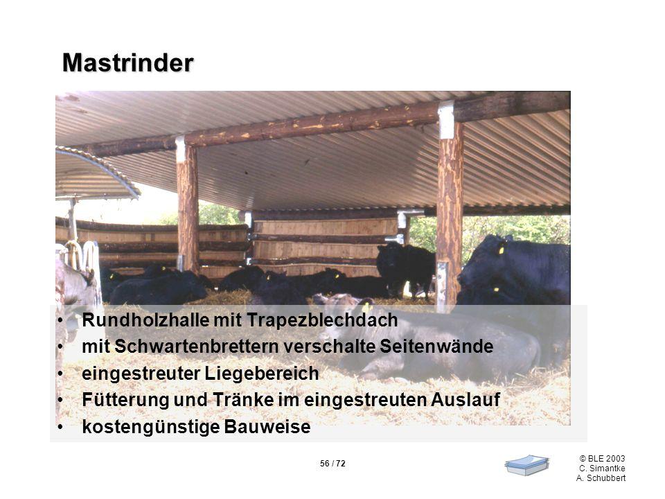56 / 72 © BLE 2003 C. Simantke A. Schubbert Mastrinder Rundholzhalle mit Trapezblechdach mit Schwartenbrettern verschalte Seitenwände eingestreuter Li