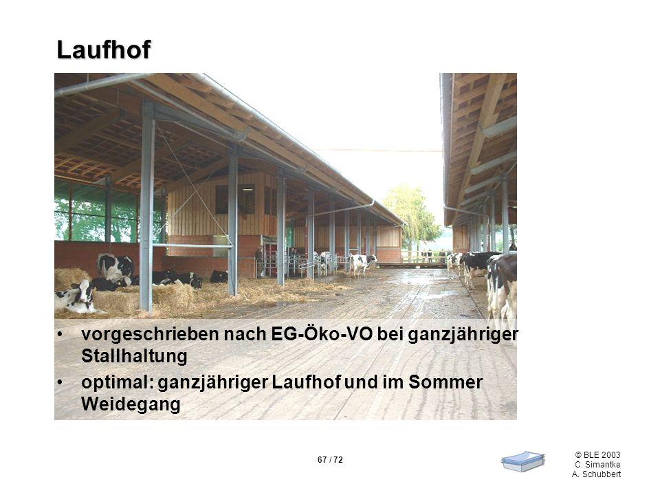 67 / 72 © BLE 2003 C. Simantke A. Schubbert Laufhof vorgeschrieben nach EG-Öko-VO bei ganzjähriger Stallhaltung optimal: ganzjähriger Laufhof und im S