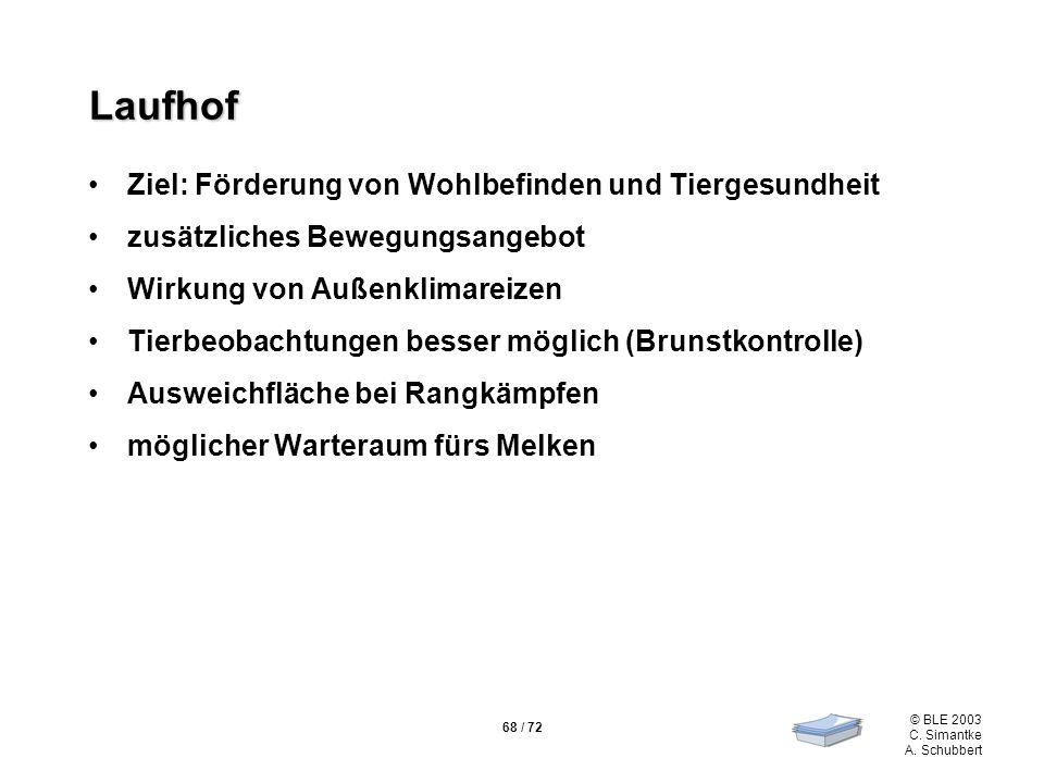 68 / 72 © BLE 2003 C. Simantke A. Schubbert Laufhof Ziel: Förderung von Wohlbefinden und Tiergesundheit zusätzliches Bewegungsangebot Wirkung von Auße