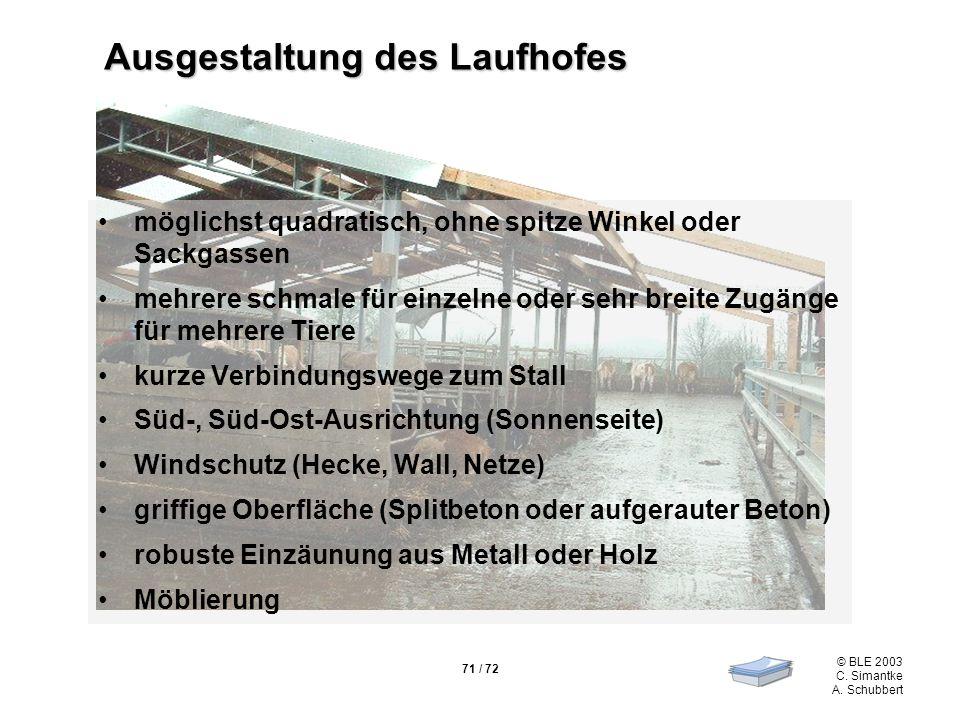 71 / 72 © BLE 2003 C. Simantke A. Schubbert Ausgestaltung des Laufhofes möglichst quadratisch, ohne spitze Winkel oder Sackgassen mehrere schmale für