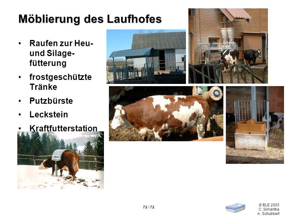 72 / 72 © BLE 2003 C. Simantke A. Schubbert Möblierung des Laufhofes Raufen zur Heu- und Silage- fütterung frostgeschützte Tränke Putzbürste Leckstein